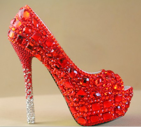 Crystal High Heels Shoes Woman Pumps Y Red Wedding Rhinestones Prom Party Platform Bridal Free Shipping