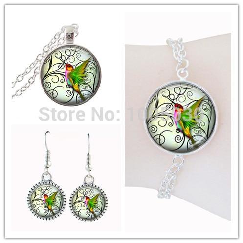 African jewelry set bird necklace hummingbird jewelry silver bracelts and stud earrings set glass cabochon pendant animal choker