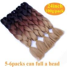 FALEMEI Three Tone Color Crochet Hair Extensions Kanekalon Hair Synthetic Crochet Braids Ombre Jumbo Braiding Hair Extensions