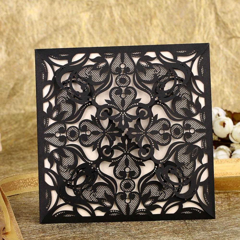 Black 12pcs Romantic Paper Laser Cut Invitation Card Greeting Card