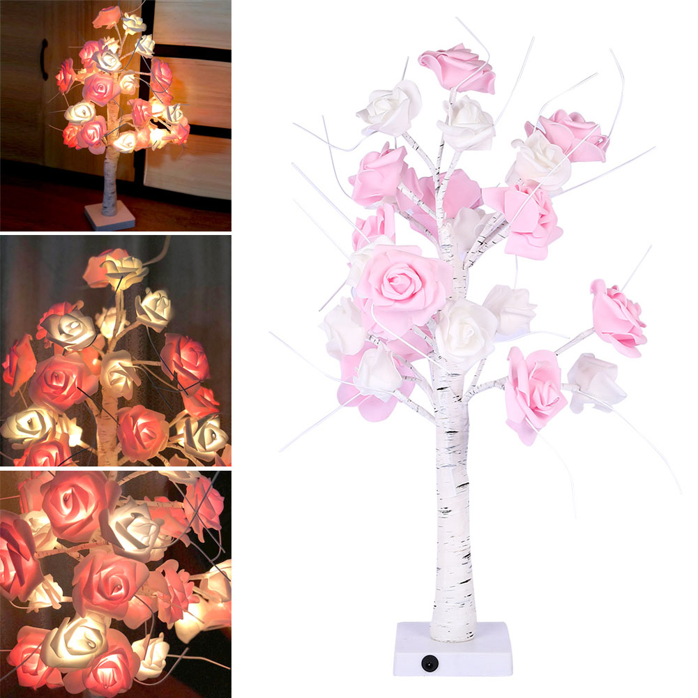Rose Potted Desk Lamp Night Lights Bonsai Tree Christmas Decor Lights with 24 LED Beads CLH@8Rose Potted Desk Lamp Night Lights Bonsai Tree Christmas Decor Lights with 24 LED Beads CLH@8