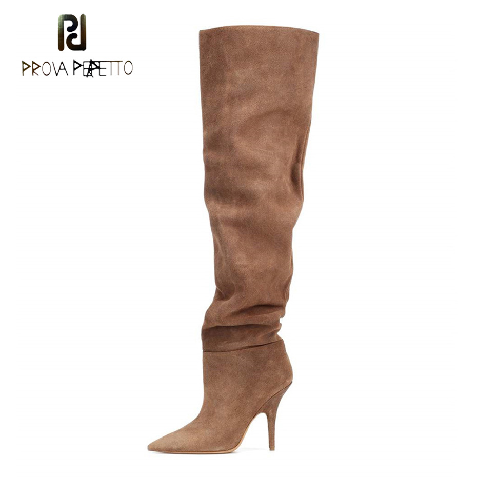Prova Perfetto sexy pointed toe stiletto heel fashion long boots for women 2018 new brown suede slip on solid runway boots shoesProva Perfetto sexy pointed toe stiletto heel fashion long boots for women 2018 new brown suede slip on solid runway boots shoes
