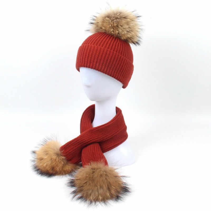 Conjunto Chapéu de Inverno Cachecol de Lã Quente engrossado Genuíno Para Crianças Menina de Lã de Moda Malha Conjunto Cachecol Cap Pele De Guaxinim De Verdade chapéu Pompom
