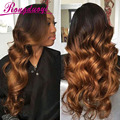 8A Grade Brazilian Hair Wig Two Tone Color #1B/#30 Brazilian Deep Wave Full Lace Wig Glueless Lace Front Human Hair Wig