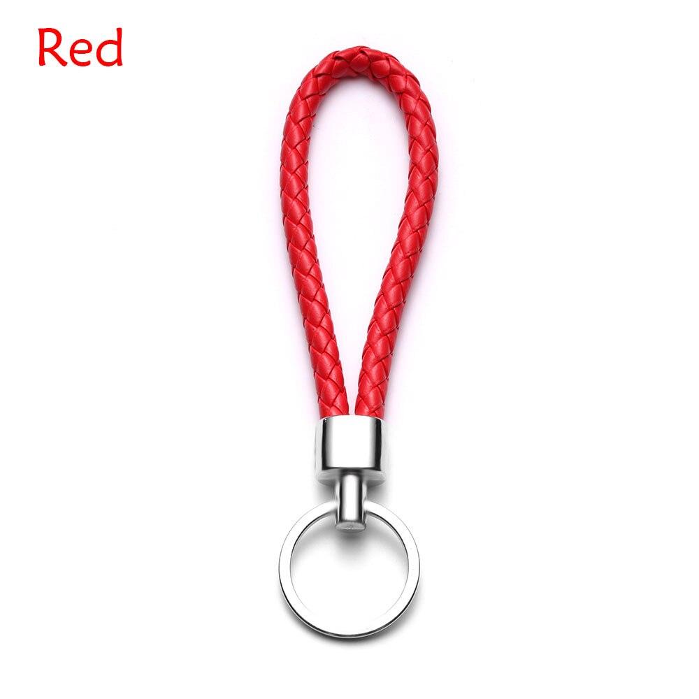 13 цветов ручной работы плетеная брелок для ключей кожаный брелок автомобильный брелок Прямая - Название цвета: red