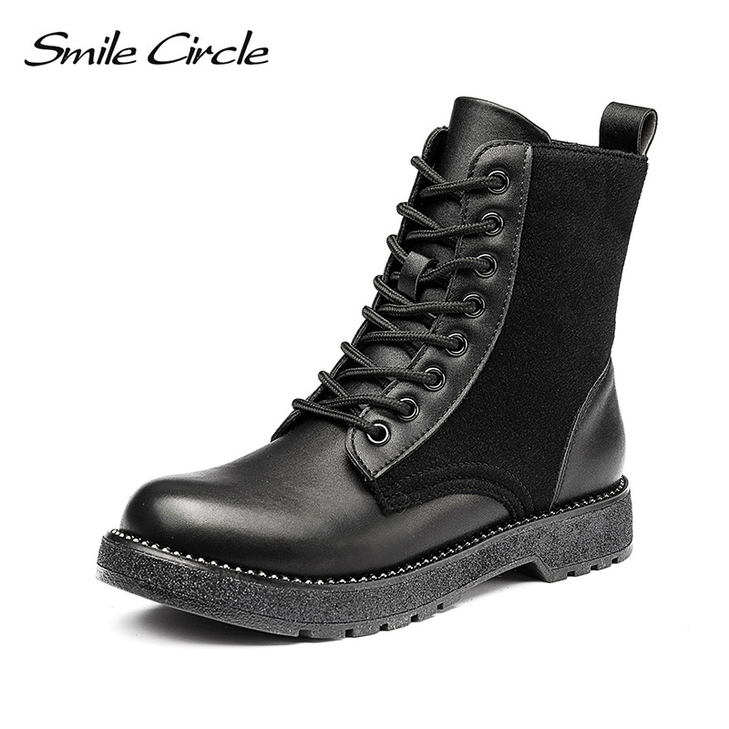 Smile Circle Motorcycle Ankle Boots Women flat shoes Autumn 2018 Fashion Lace-up boots black casual short BootsSmile Circle Motorcycle Ankle Boots Women flat shoes Autumn 2018 Fashion Lace-up boots black casual short Boots