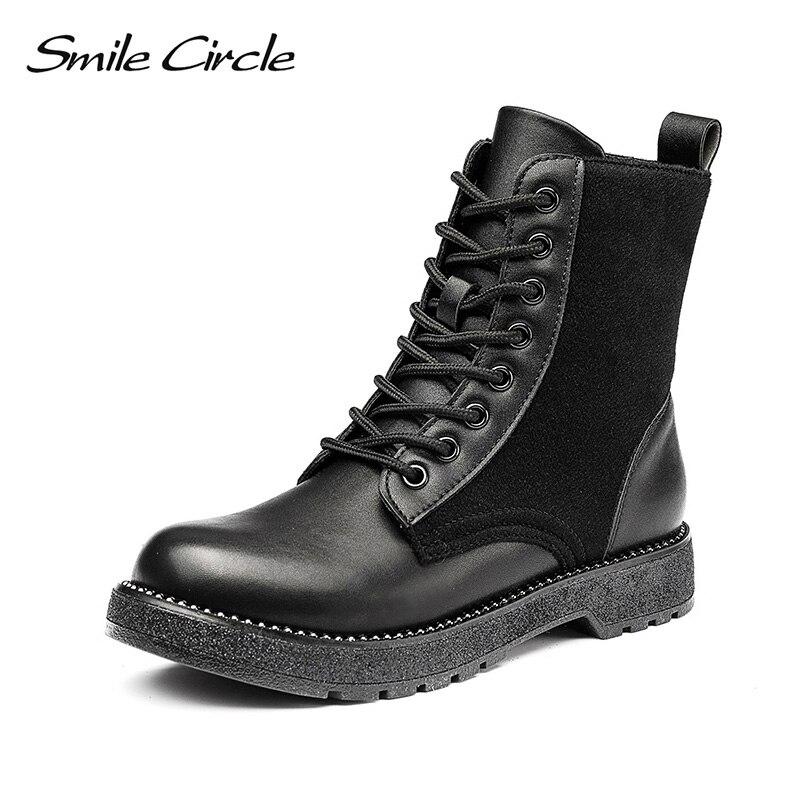 Женские мотоциклетные ботинки Smile Circle, черные повседневные ботинки на плоской подошве, на шнурках, осень 2018 Полусапожки      АлиЭкспресс