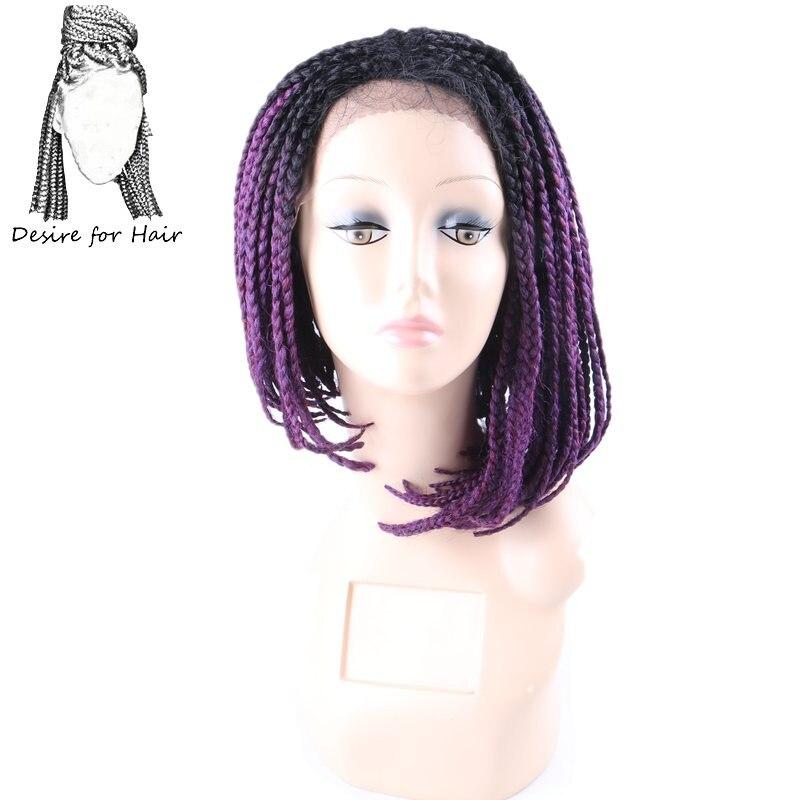 Desire для волос 10 видов цветов 14 дюймов плетеный ящик косы боб парики термостойкие синтетические кружева спереди парик с ребенком волос Ombre Фи... ...
