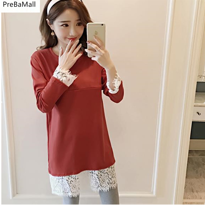 Maternity Nursing Dresses 2018 Autumn Long Sleeve Pregnant Dress Lace Breastfeeding Clothes For Maternity Women Outwear B0482 trendy see through off the shoulder long sleeve lace blouse for women