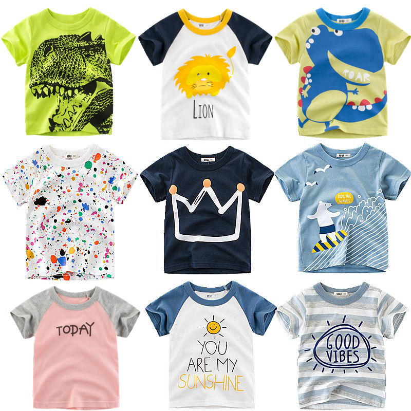 Loozykit Boys T-Shirt Short-Sleeve Crown-Print Baby-Girls Kids Cotton Tee-Tops Cloth