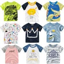 Loozykit/Летняя детская футболка для мальчиков футболки с короткими рукавами и принтом короны для маленьких девочек хлопковая детская футболка футболки с круглым вырезом, одежда для мальчиков