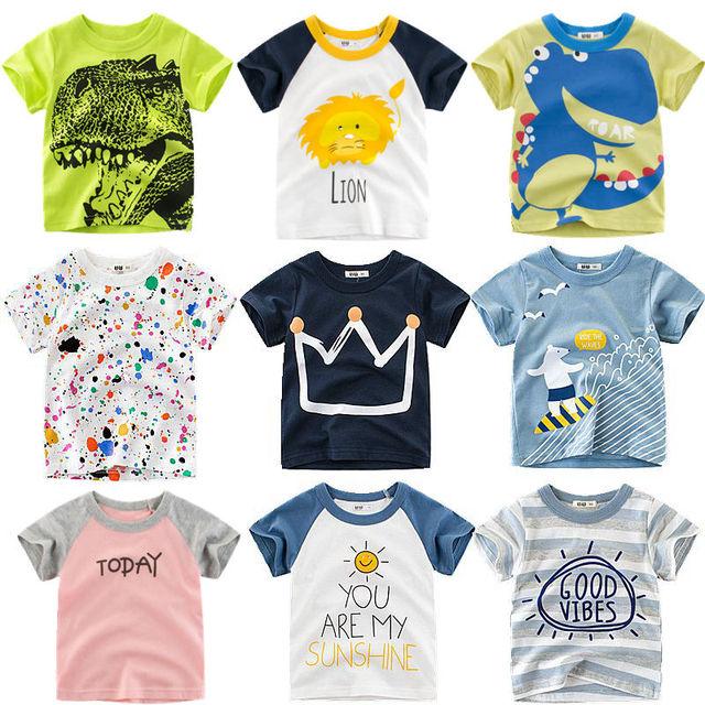 Loozykit Verão Crianças Meninos Camiseta Crown Imprimir Bebê Meninas Camisetas Crianças de Algodão T-shirt de Manga Curta O-pescoço Tee Encabeça Menino pano
