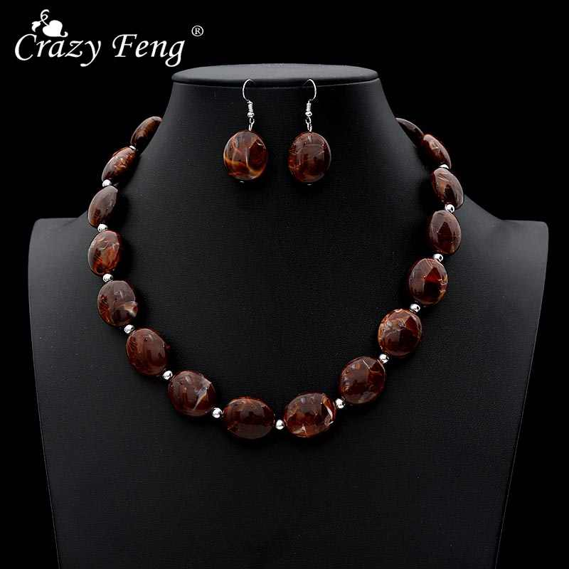 Crazy Feng Vintage African Jewelry Sets For Women Oval Stone Beaded Necklaces Drop Earrings Set 2019 Fashion Jewelry NE+EA