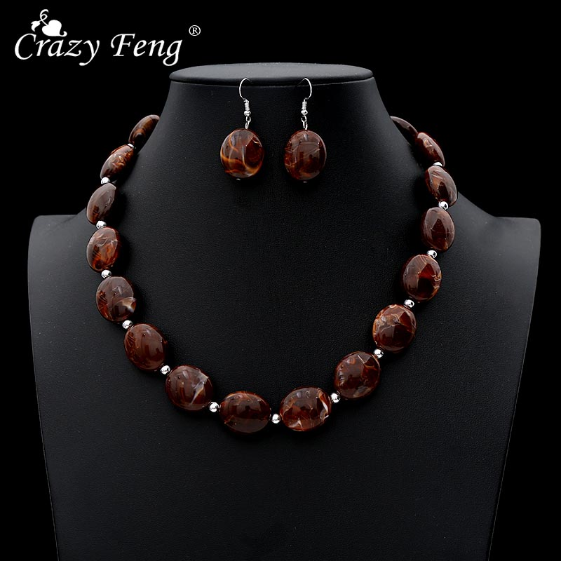 Crazy Feng Vintage African Jewelry Sets For Women Oval Stone Beaded Necklaces Drop Earrings Set 2019 Fashion NE+EA