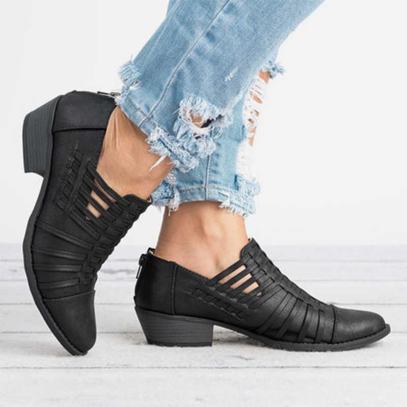 Plattform Dicken Absätzen Vintage Ankle Winter frauen Stiefel Herbst Aushöhlen Zipper Clog Party Schuhe Frau Mode Schuhe Damen