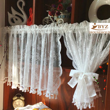 Short Tulle Curtains for Kitchen Finished White Floating Tulle Sheer Yarn Curtain Rod Pocket for Cabinets Short Curtain for Cafe(China)