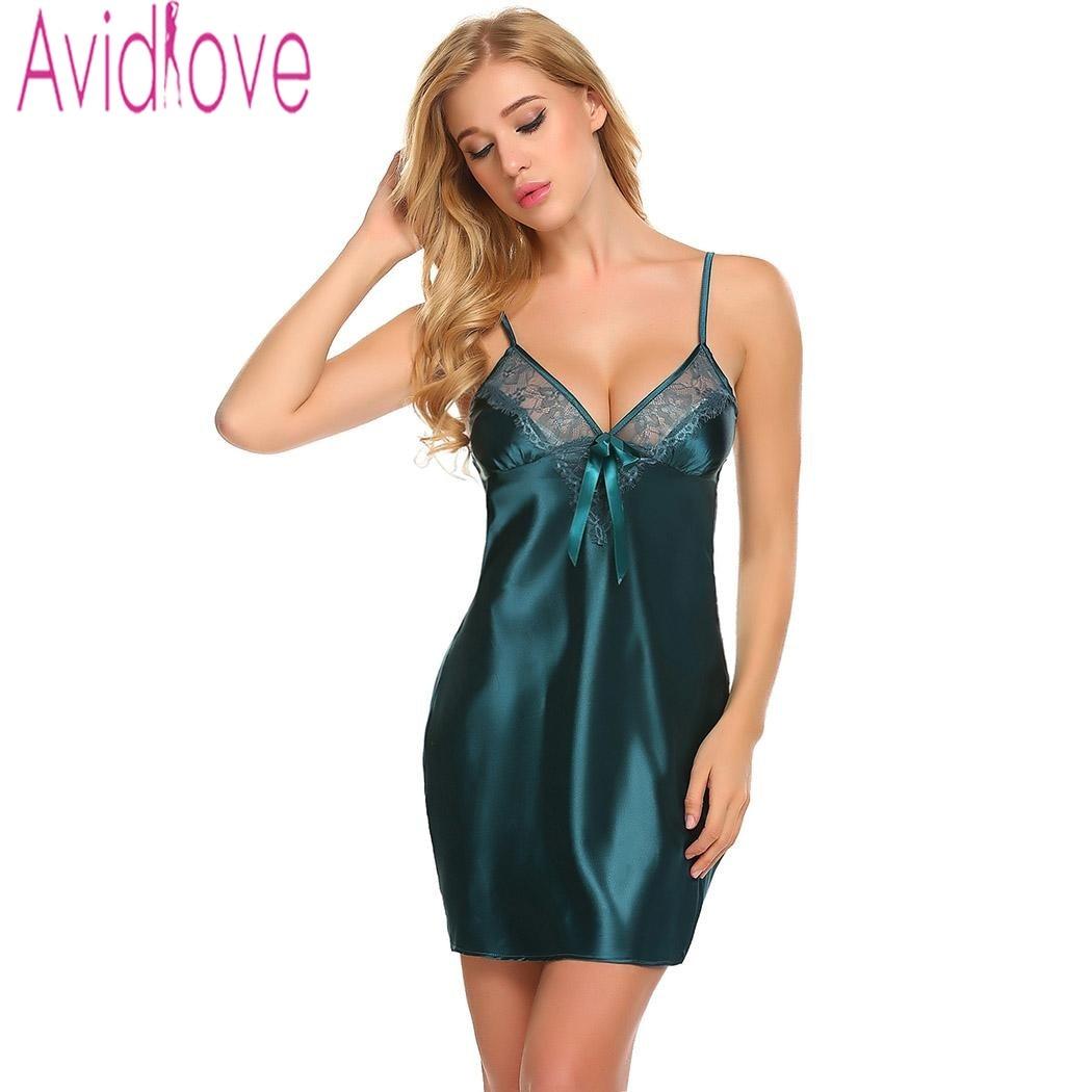 Avidlove 2018 New Satin Sexy Nightdress Sleepwear Summer Women Backless V  Neck Nightgown Silk Nightwear Female Night Gown Dress-in Nightgowns    Sleepshirts ... 084dc7f3b