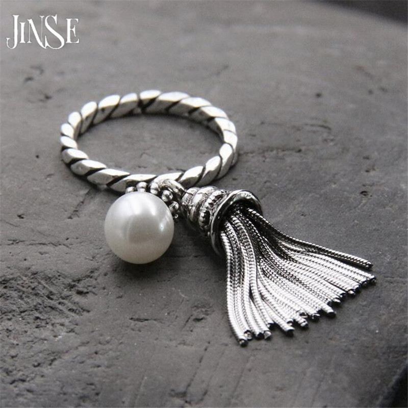 JINSE 925 Sterling Silver Open Ring For Women With Long Tassel Retro Style Do The Old Silver Shell Pearl Rings Bijoux Femme