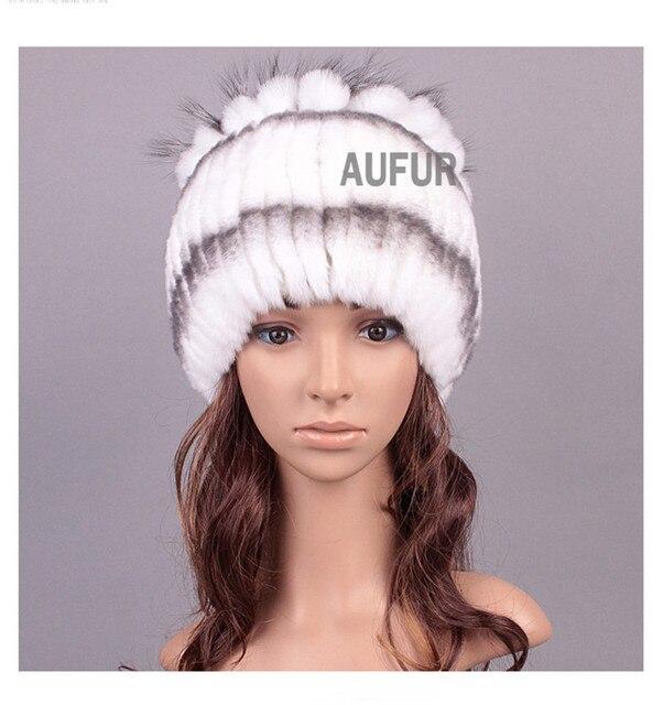 Tejido de punto Real Rex Rabbit Fur Hats Casquillo de Las Mujeres Headwear Gorros 100% de Piel de Conejo de Piel Natural Silver Fox Fur Decorado AU00815