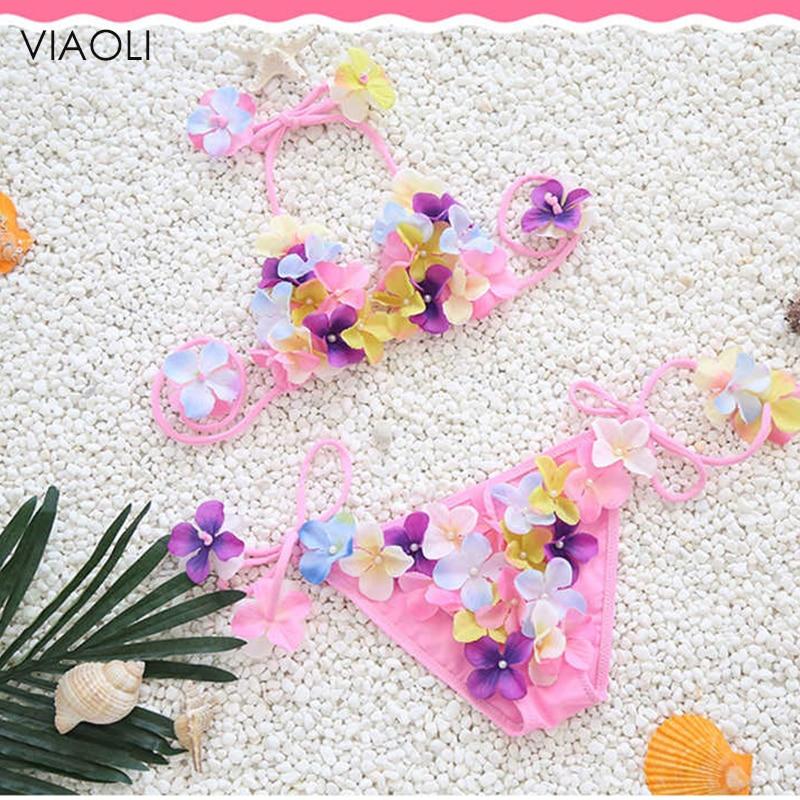 Handmade Floral Swimsuit For Girls Two Piece Children Swimwear 2018 Kids Pink Swim Suit Cute Halter Baby Beachwear 2-10 Years