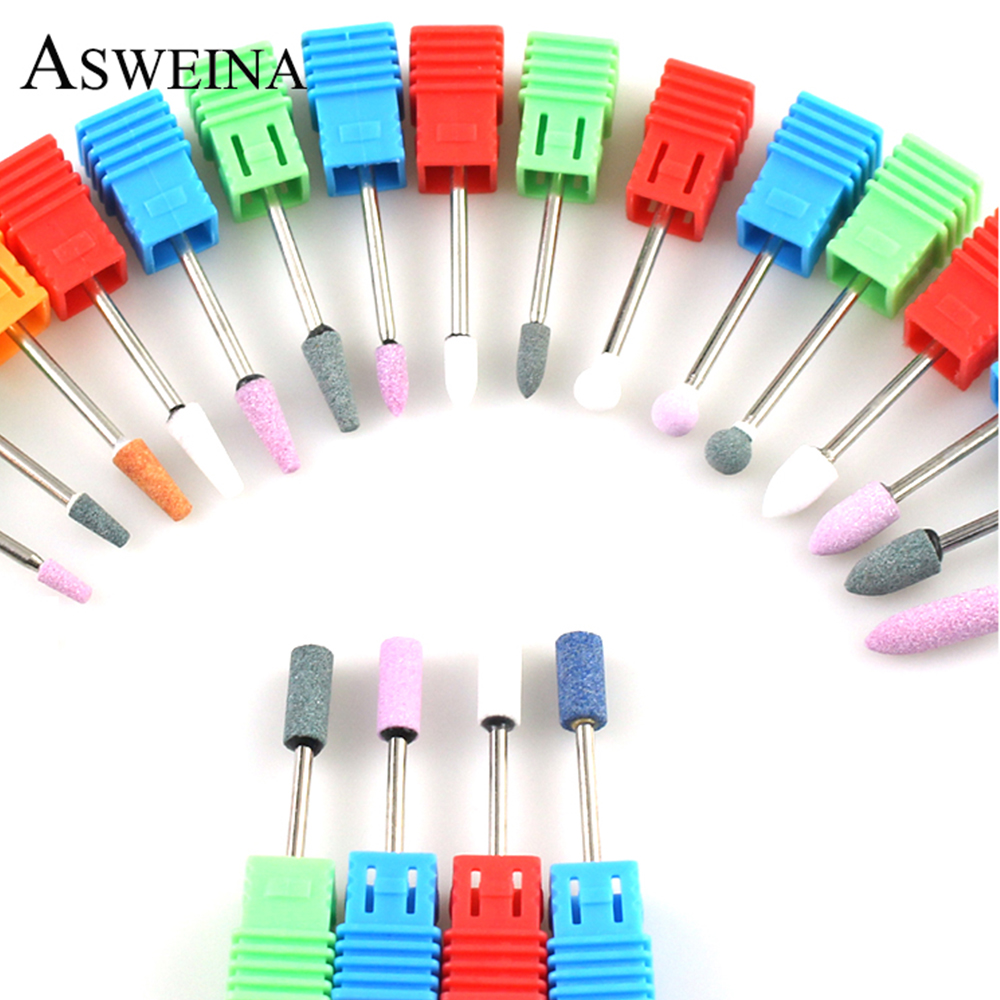 21 Type Ceramic Stones Nail Drill Corundum Rotary Bit Milling Cutters Manicure Machine Burr Cuticle Clean Files Nail Art Tools