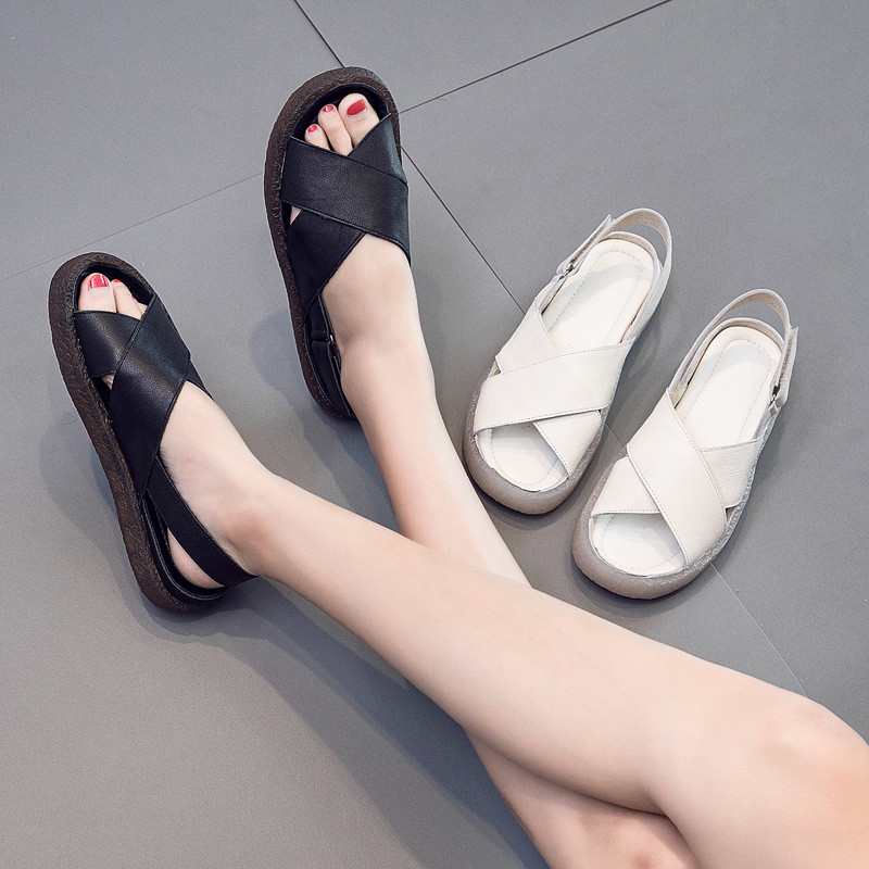 Genuine Leather Handmade Female Sandals Soft Bottom Casual Women Flats Platform Shoes Cross Strap Peep Toe Ladies Slippers Shoes in Women 39 s Sandals from Shoes