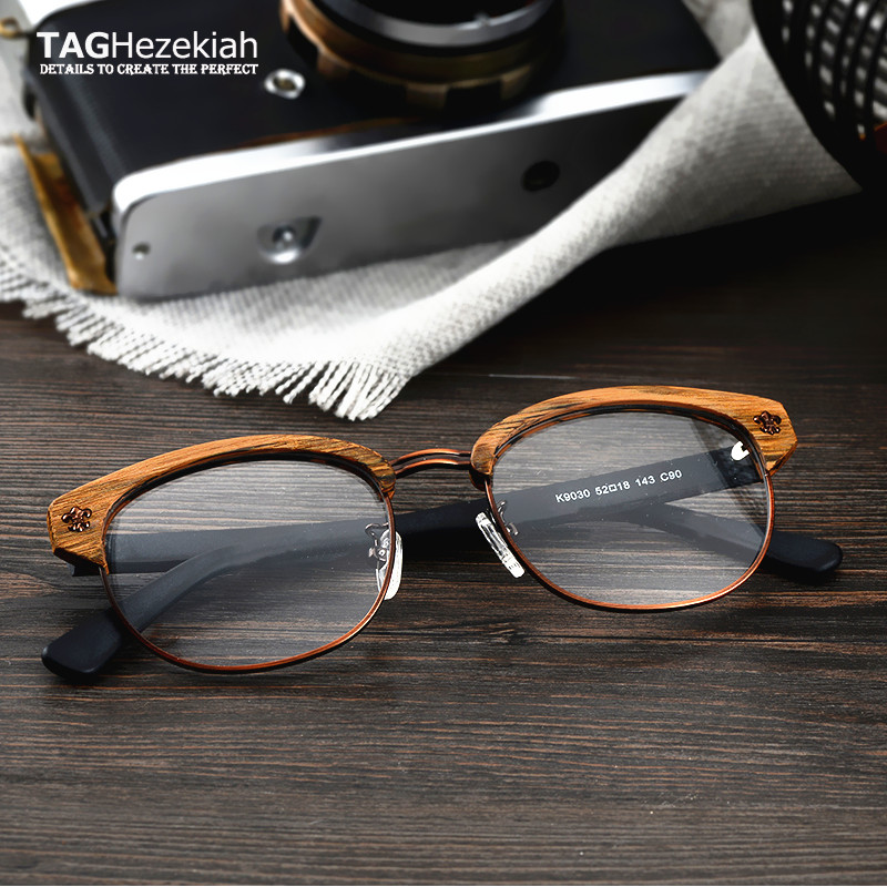 2019 TAG Hezekiah Brand Vintage Wood Retro Rivet Eyeglasses Frame Men Women Wooden Myopia Prescription Optic Glasses Frame image
