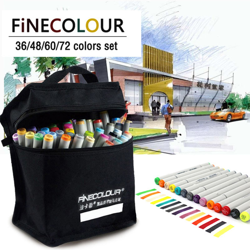 FINECOLOUR 160 Colors Double Headed Paint Sketch Marker Pen Architecture Alcohol Based Art Markers Set Manga Drawing finecolour ef102 brush markers alcohol based sketch paint marker pen art 160 colors set
