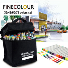 FINECOLOUR 160 צבעים זוגי בראשות צבע סקיצה מרקר עט ארכיטקטורת מבוסס אלכוהול אמנות סמני סט מנגה ציור