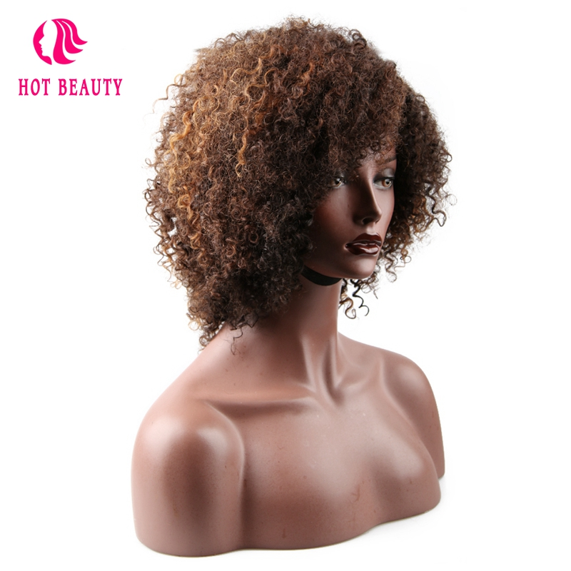 Short Wigs Human-Hair Kinky Curly 250-Density Hot for Women Can-Be-Dyed Mixed-Color Remy