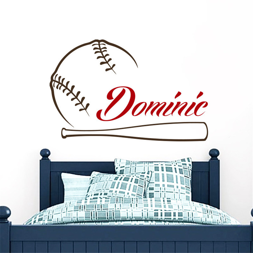 Baseball Wall Sticker Custom Name Sports Decal Personalized Baby Boys Name Decor Kids Room Wall Art adesive De Parede Mural