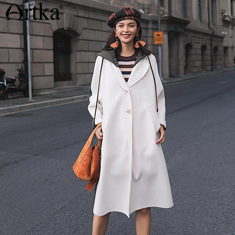 100% QualitäT Artka 2018 Herbst Neue Wolle Frauen Lange Doppel Woolen Mantel Einreiher Kontrast Farbe Mit Kapuze Outwear Fa10082d