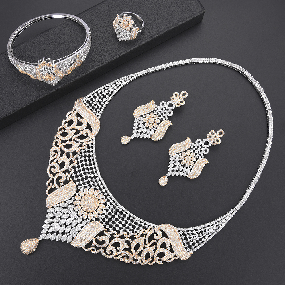Deluxe bridal jewelry sets Cubic Zirconia Dubai nigerian Jewelry sets for women Necklace Earrings set Bangle Ring Jewelry Deluxe bridal jewelry sets Cubic Zirconia Dubai nigerian Jewelry sets for women Necklace Earrings set Bangle Ring Jewelry