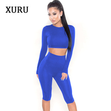 198083b9de0f XURU Summer Playsuits Women Jumpsuit Rompers High Stretchy Solid Two Piece  Set Long Sleeve Fitness Casual