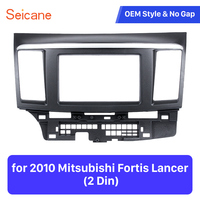 Seicane 2din黒でストライプ再装着車のdvdラジオ筋膜用三菱フォルティスランサーステレオダッシュ取り付けフレーム