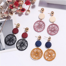 Hello Miss Korea new geometric circle earrings temperament dream catcher wooden long womens