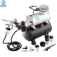 OPHIR 0.3/0.35/0.8mm 3 Airbrush Sets with Air Tank Compressor for Model Hobby Tanning Car Paint Airbrush Kit_AC090+004A+071+072