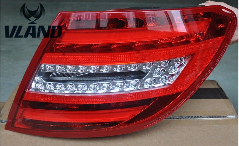 Free shipping vland factory for  W204 C200 LED taillight  2011 2012 2013 /rearlight  Best quality with red  color ! free shipping vland factory car parts for camry led taillight 2006 2007 2008 2011 plug and play car led taill lights