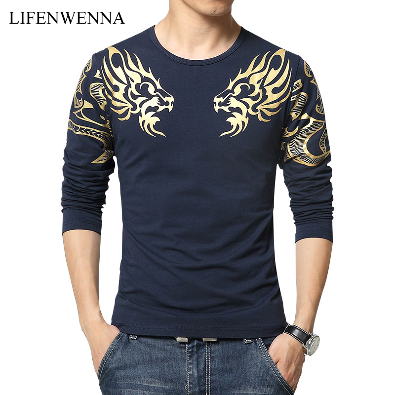 2019 Autumn New High-end Men's Brand T-shirt Fashion Slim Dragon Printing Atmosphere T Shirt Plus Size Long-sleeved T Shirt Men
