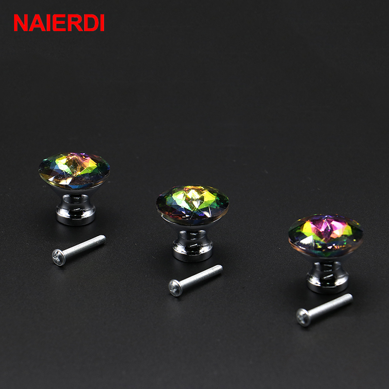 10PCS NAIERDI 30mm Diamond Shape Colorful Crystal Glass Knobs Cupboard Drawer Pull Door Kitchen Cabinet Wardrobe Handle Hardware 10 pcs 30mm diamond shape crystal glass drawer cabinet knobs and pull handles kitchen door wardrobe hardware accessories