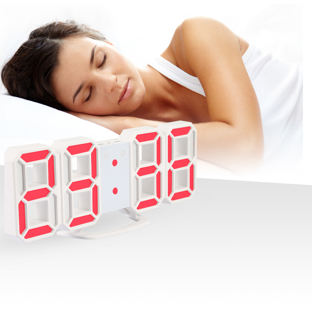 3D LED Digital Wall Clocks 24 / 12 Hours Display 3 Brightness Levels Dimmable Nightlight Snooze Function for Home Kitchen Office(China)