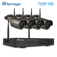 NEW Techage 720P WIFI CCTV System 4CH Wireless NVR Kit 2pcs Security 1 0MP IP Camera