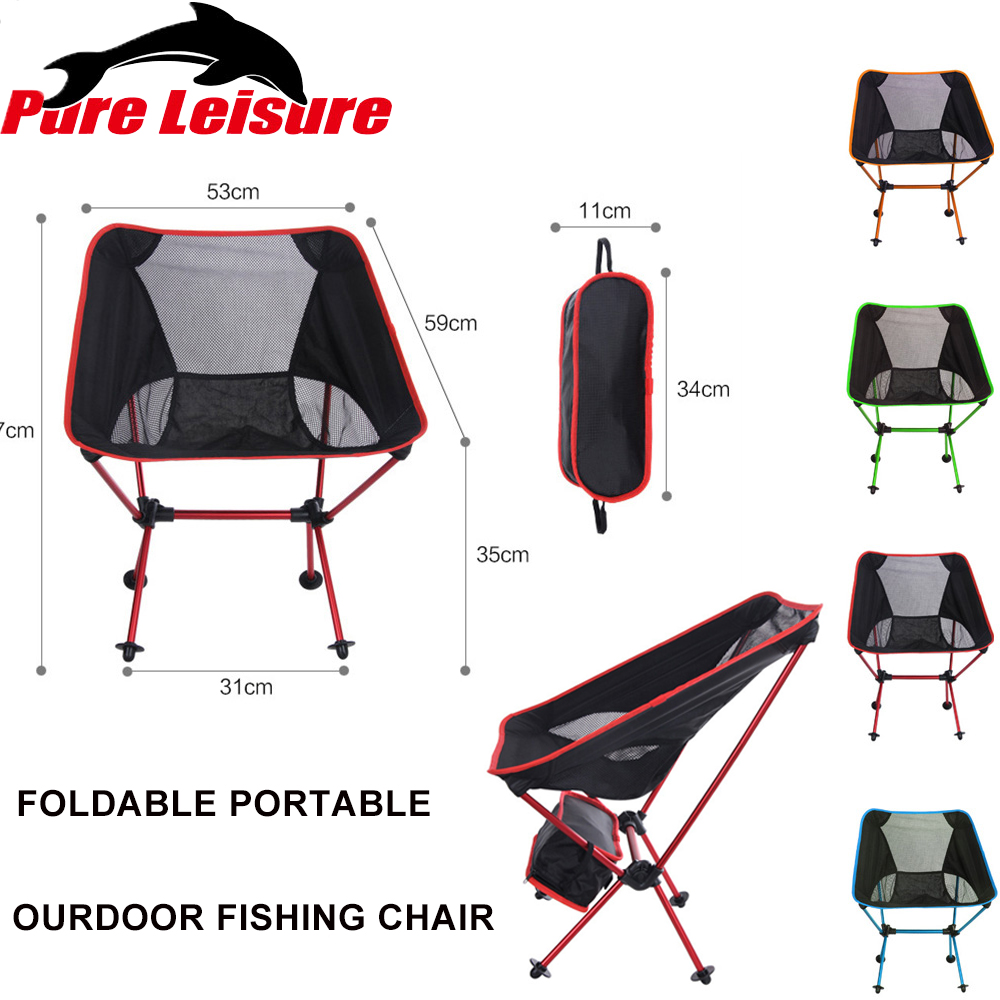 Pureleisure Fishing Chair Foldable Seat Lichtgewicht Travel Portable Outdoor Party Camping Stool Chair Fishing BBQ Beach Chairs