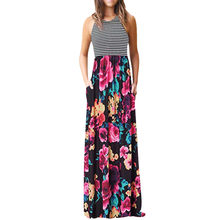 Round Neck summer beach dress women Stripe Sleeveless Maxi Dresses Casual Long Dresse With Pocket vestido elbise robe#G6(China)