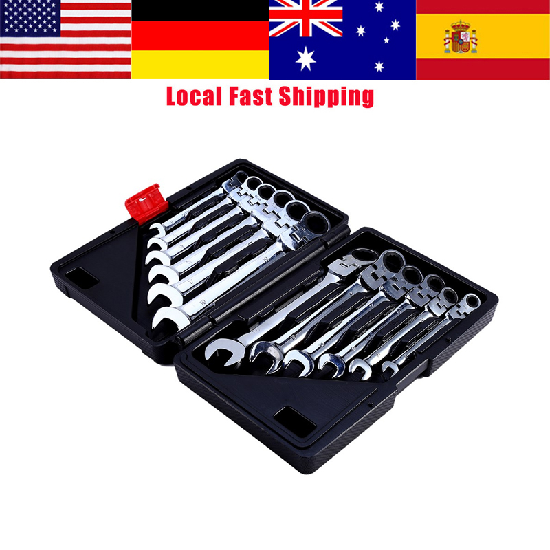 12Pcs/Set 8-19mm Flexible Combination Spanners Ratchet Wrench Car Garage Repair tool Ratchet Handle Wrenches Set Hand Tools HOT стоимость