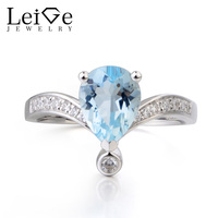 Leige Jewelry Promise Ring Natural Blue Aquamarine Ring Pear Cut Gemstone March Birthstone Gems 925 Sterling