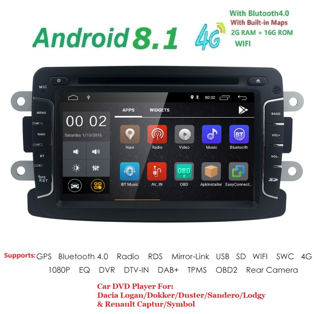 4G Android 8.1 7Inch Car DVD Player For Dacia/Sandero/Duster/Renault/Captur/Lada/Xray 2 Logan 2 RAM 2G WIFI GPS Navigation Radio