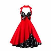 Woman Retro Polka Dot Dress Sexy Halter Sleeveless Backless Ruffles 4color S 4XL Vintage Feminino Vestidos