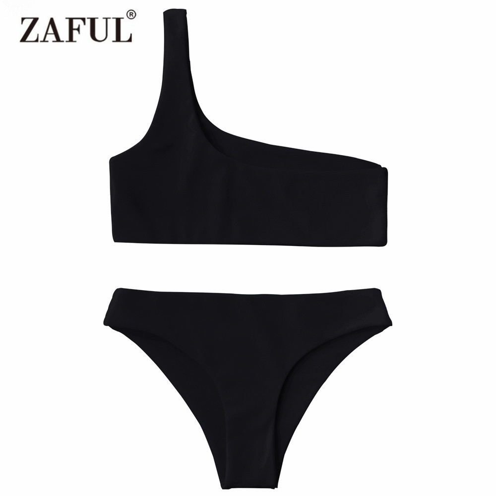 Zaful 2017 Women New One Shoulder Bikini Top and Bottoms Sexy Low Waisted Bralette One Shoulder Swimsuit Summer Beach Bikini zaful 2017 women new one shoulder bikini top and bottoms sexy low waisted bralette one shoulder swimsuit summer beach bikini