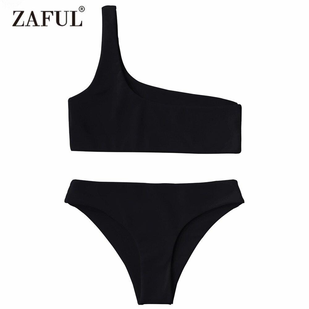 Zaful 2017 Women New One Shoulder Bikini Top and Bottoms Sexy Low Waisted Bralette One Shoulder Swimsuit Summer Beach Bikini